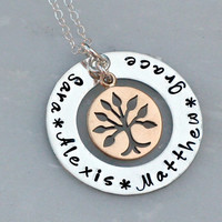 Family Tree Necklace - Custom Necklace - Mixed Metal Necklace - Hand Stamped Necklace - Gift for Mom