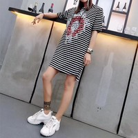 """Chrome Hearts"" Women Fashion Stripe Sequin Embroidery Cross Hooded Short Sleeve Casual Mini Dress"
