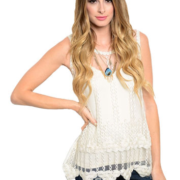 Sleeveless Sheer Crochet Lace Boho Top