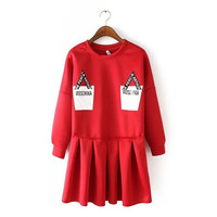 Stylish Round-neck Long Sleeve Alphabet Print Cotton Women's Fashion One Piece Dress [4918967172]