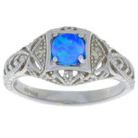 Blue Opal & Diamond Round Ring .925 Sterling Silver