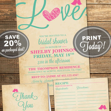 Bridal Shower Package, Invitation, Recipe Card, Thank You Card, Pink, Mint, Mint Green, Love Birds, Heart, Printable File (INSTANT Download)