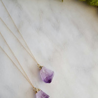 Raw Amethyst Necklace | Gold Filled Jewelry | Gold Dipped Amethyst | Geode Jewelry | Natural Gemstone Necklace | Crown Chakra Yogi Jewelry