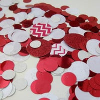 Red, White & Chevron Jumbo Confetti - Table/Party Decoration