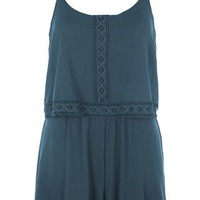 Jersey Overlay Trim Romper - Teal