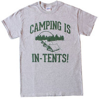 Camping is IN TENTS T-shirt-funny humorous novelty shirt-S-XXL-FREE SHIPPING
