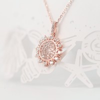 Magic Pieces Rose Golden Plated Sterling Silver Sunflower Pendant with Cubic Zirconia Stones Pave