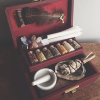 The Witch's Charm Box Brown Small W/ Key