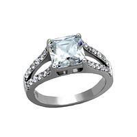 Virtuous - Women's High Polished Stainless Steel Ring with AAA Grade 3CT. Eq. Square Cut Stone