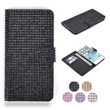 """iPhone 6 Plus Case, HESPLUS Luxury Bling Glitter Rhinestone Folio PU Leather Magnet Flip Wallet Case Cover with Credit Card Slot for iPhone 6 Plus 5.5"""" Inch Black"""