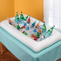 2 Pack: Inflatable Cold Food and Drink Serving Tray with Drain Plug