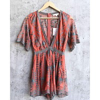 Honey Punch - As You Wish Contrasting Embroidered Lace Romper in Dusty Rust