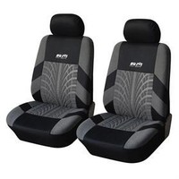 Adeco CV0224 Set of 4-Piece Car Vehicle Front Seat Covers, Universal Fit, Black and Gray, Interior Decor