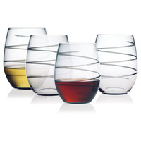 Spiral Stemless Wine Glasses ~ Set of 4