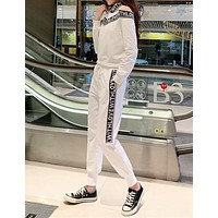 """""""LOVE&LOVE"""" Woman Leisure Fashion Letter Webbing Printing Long Sleeve Trousers Two-Piece Set Casual Wear"""
