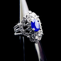 Vintage victorian ring, bohemian ring, natural sapphire ring, sterling silver sapphire ring, regal ring, blue sapphire ring, ornate ring