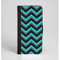 The Turquoise-Black-Gray Chevron Pattern Ink-Fuzed Leather Folding Wallet Case for the iPhone 6/6s, 6/6s Plus, 5/5s and 5c