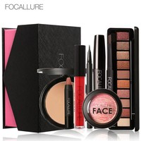 Focallure Daily Use cosmetics 8pc/set with Box Matte Lipstick Eyeshadow Lip Gloss Blush Mascara Eyeliner Face Powder