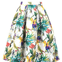 Tropical High Waisted Midi Skirt