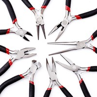 Jewelry Pliers Sets Tools for Jewelry Making Beadwork Needlework DIY Design, Polishing, Carbon-Hardened Steel, Black, 10.5~15cm