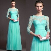 Women Long Sexy Evening Party Gown Formal Bridesmaid Cocktail Lace Splice Dress = 5739459265