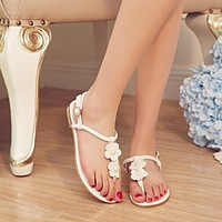 Flower T Strap Genuine Leather Flats Sandals 5261