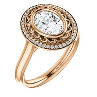 1.25 Ct Oval Ring 14k Rose Gold
