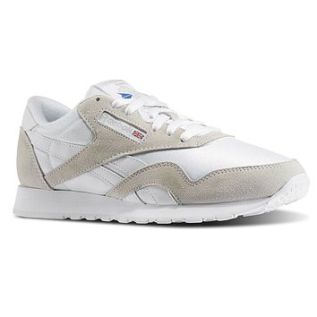 Reebok Classic Nylon White Light Grey 6390 Suede Mens Trainers Sneakers