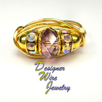 DWJ0484 Stunning Genuine Swarovski Faceted Lilac Shadow Gold Wire Wrap Ring All