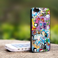Tokidoki All Character Art - TCA028TB Print on Hard Cover For iPhone 4/4S Case and iPhone 5 Case (Black, White, Clear Colour Case)