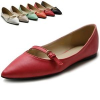 ollio Womens Shoes Ballet Pointed Toe Mary Jane Multi Color Flats