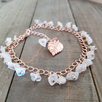 Rose gold anklet | rainbow moonstone beaded