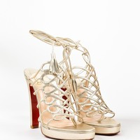 HCXX Christian Louboutin Metallic Gold Leather   Salsbourg   Lace Up Sandals