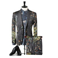 Suit Men Classic Men Suits Wedding Groom Fashion Peacock Printed Prom Suits Stage Costumes For Singers