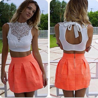 Sexy Turtle Neck Sleeveless Lace Spliced Hollow Out White Tank Top = 1845696708