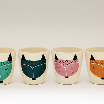 Set of 4 - Handmade ceramic cup - ceramic coffee cup - coffee mug - fox illustration - serveware - tableware - gift idea - MADE TO ORDER