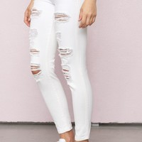 Destroyed White High Waist Ankle Jegging