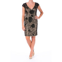 Sue Wong Womens Mesh Embellished Cocktail Dress