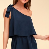 Destined for Chicness Navy Blue One-Shoulder Romper
