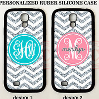 CUSTOM PERSONALIZE TEAL PINK CHEVRON (NO GLITTER) Case For Samsung GALAXY S7 S6