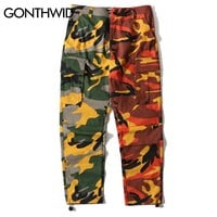 GONTHWID Two-Tone Camo Pants Hip Hop Patchwork Camouflage Military Cargo Trouser Casual Cotton Multi Pockets Pant Streetwear