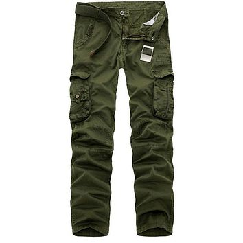 Spring New Cotton Cargo Pants Men Multi-pocket Casual Slim Camouflage Trousers Men(Asian Size 29-40)