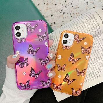 New product female personality laser butterfly printing iPhone11 mobile phone case cover
