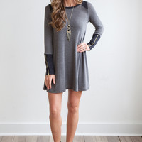 Faux Suede Detail Long Sleeve Tunic Dress - Charcoal