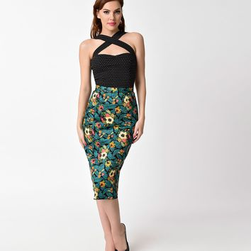 Banned 1950s Style Teal Tropical Daytrip Wiggle Skirt