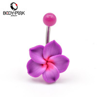 New Arrival Trendy 1 Pcs Purple Flowers Soft Clay Belly Button Ring Body Piercings Jewelry NR 004