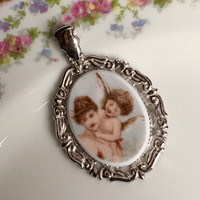 Angel Jewelry, Broken China Jewelry, Pendant, Cupid, Baby Angel, Angel on my Shoulder, Victorian Angel, Valentines Day Gift for Wife