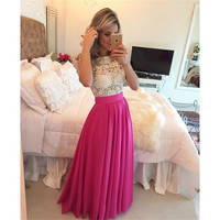 Hot Pink Long Chiffon Formal Evening Dresses Pearls Beaded Lace Bodice A Line Floor Length Evening Gowns X-047