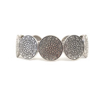 Sun Medallion Stretch Bracelet In Silver