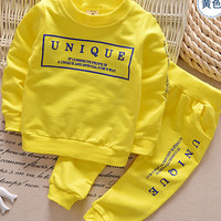 2016 new arrival Boy clothing set kids sports suit children tracksuit girls Tshirt pant baby sweatshirt character casual clothes